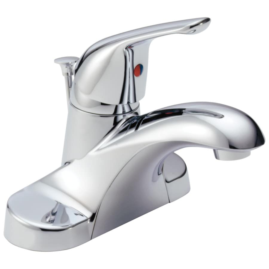 Delta Foundations Chrome 1-Handle 4-in Centerset WaterSense Bathroom Faucet (Drain Included)