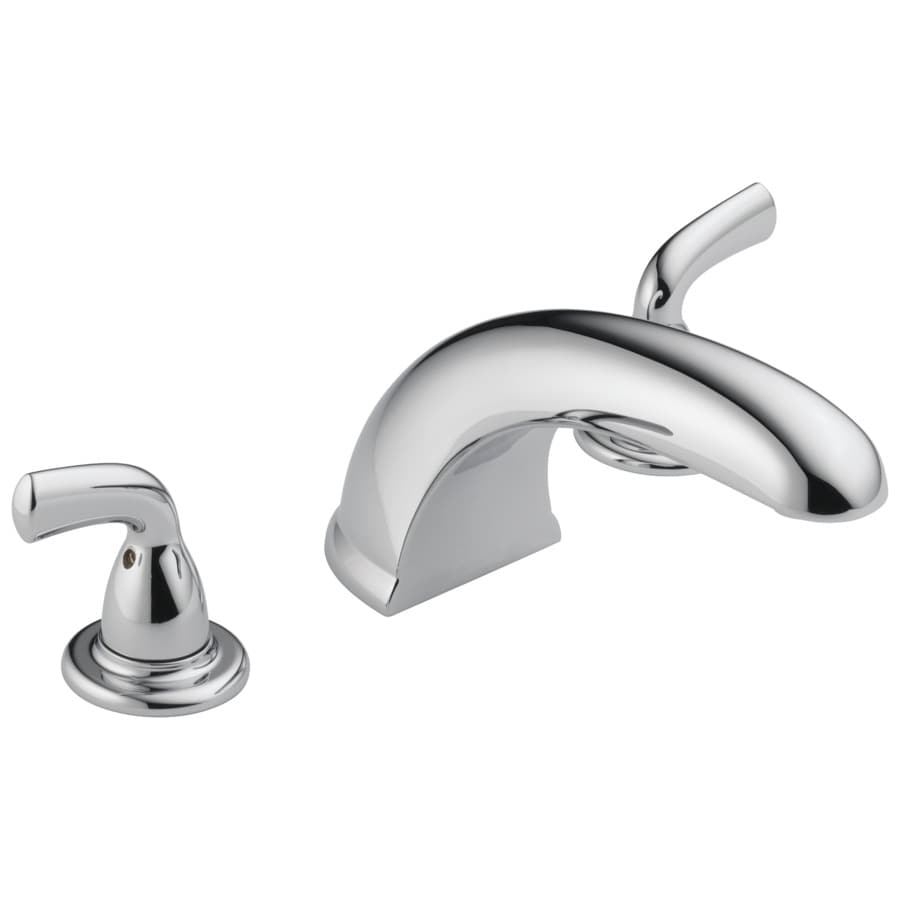 delta foundations chrome 2 handle adjustable deck mount bathtub faucet