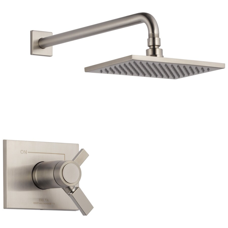 Delta Vero Thermostatic Stainless 1-Handle Shower Faucet Trim Kit with Rain Showerhead