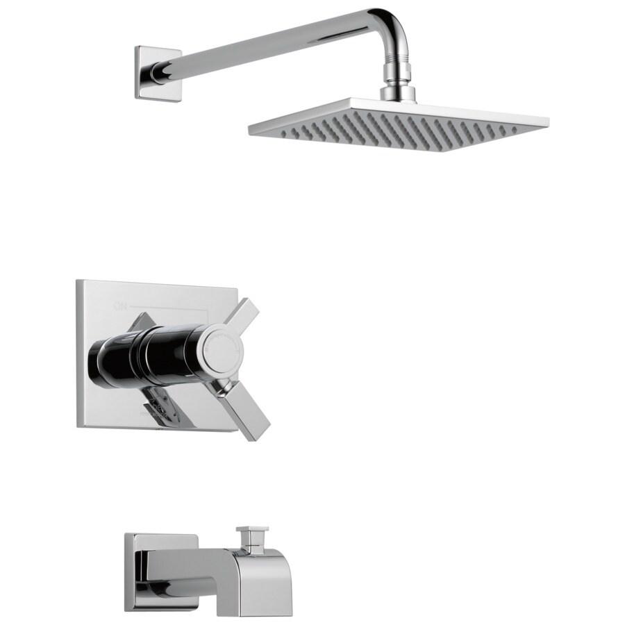 Delta Vero Thermostatic Chrome 1-Handle Bathtub and Shower Faucet Trim Kit with Rain Showerhead