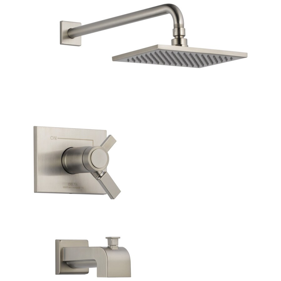 Delta Vero Thermostatic Stainless 1-Handle Bathtub and Shower Faucet Trim Kit with Rain Showerhead