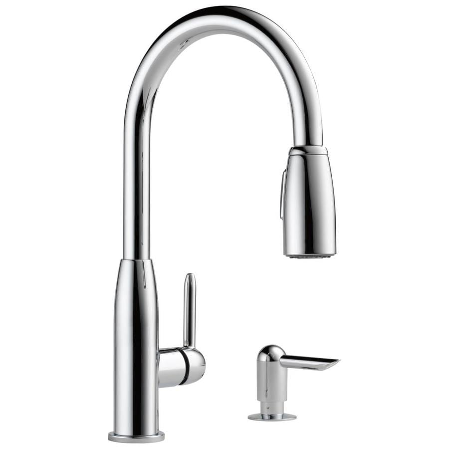 shop peerless chrome 1 handle pull kitchen faucet at