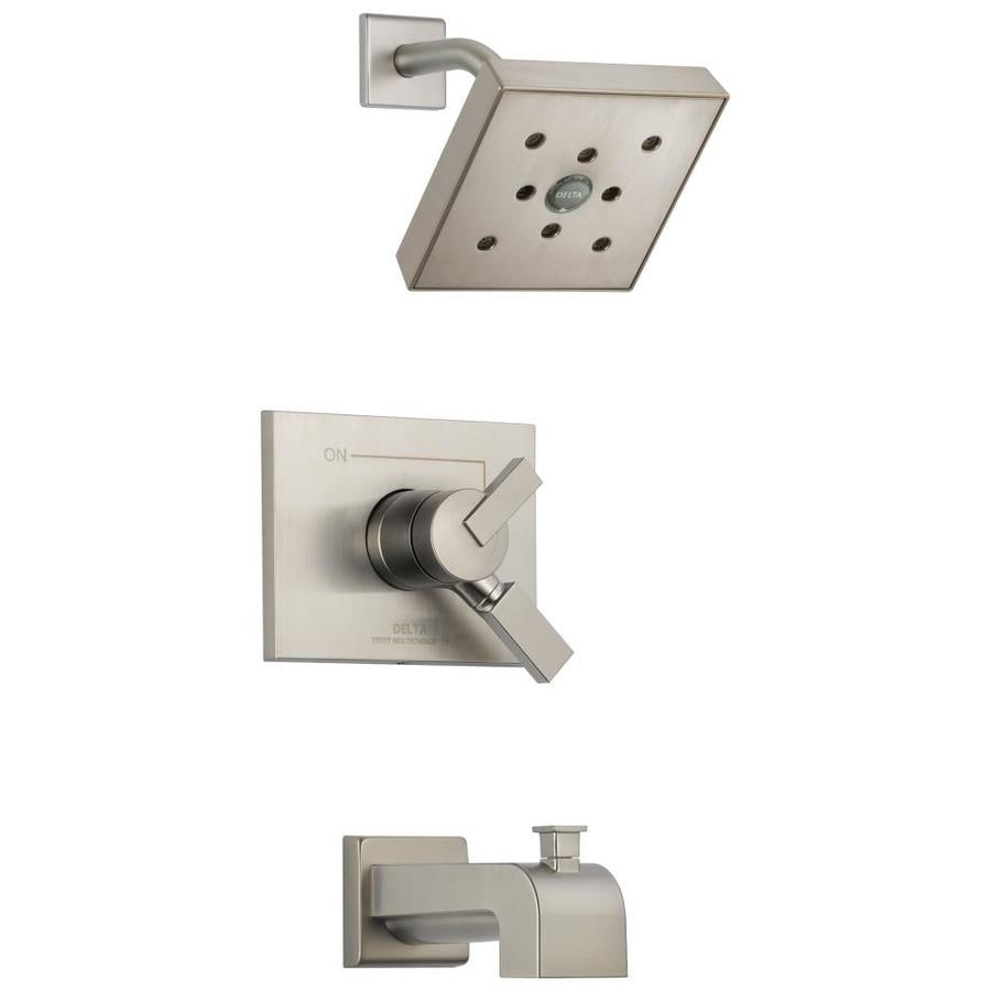Delta Vero Stainless 1-Handle WaterSense Bathtub and Shower Faucet Trim Kit with Rain Showerhead