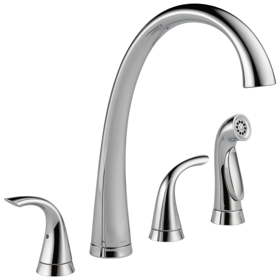 Delta Pilar Waterfall Chrome 2-Handle High-Arc Sink/Counter Mount Kitchen Faucet with Side Spray