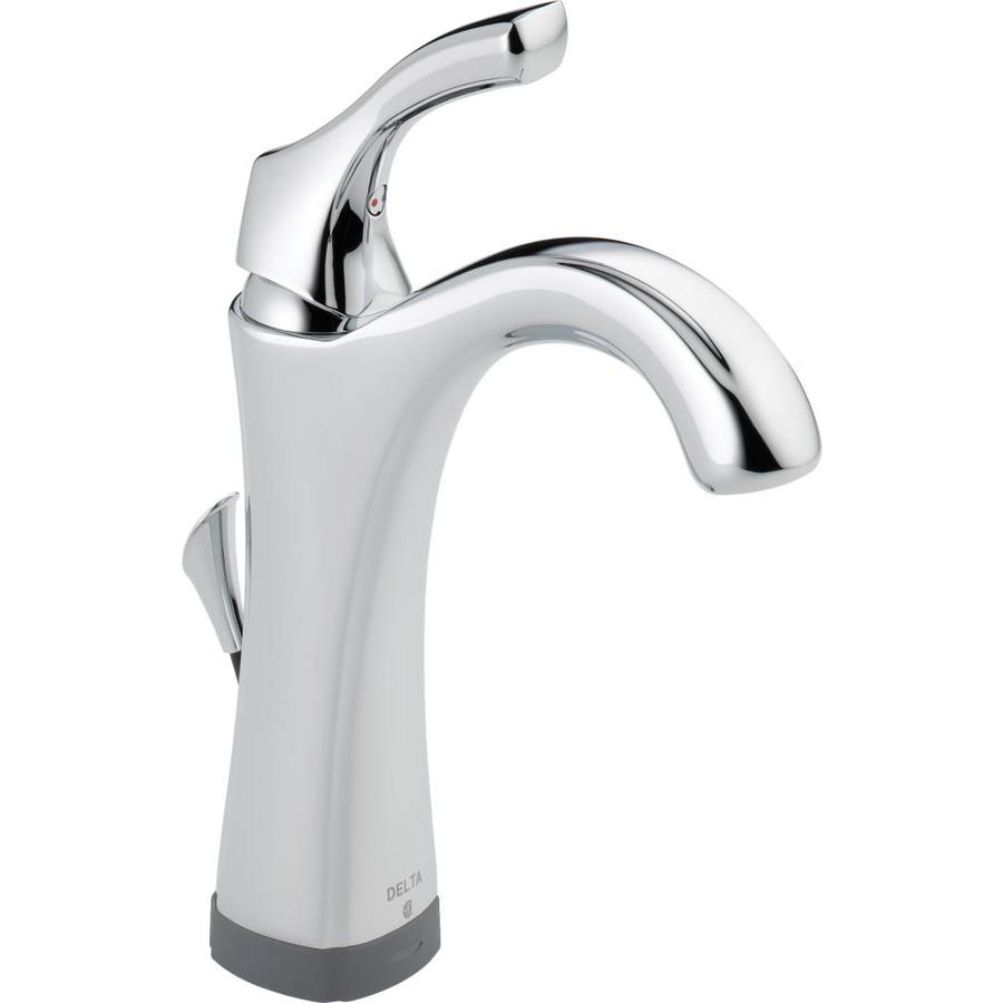 Delta Addison Touch2Oxt Chrome 1-Handle Single Hole/4-in Centerset WaterSense Bathroom Faucet (Drain Included)