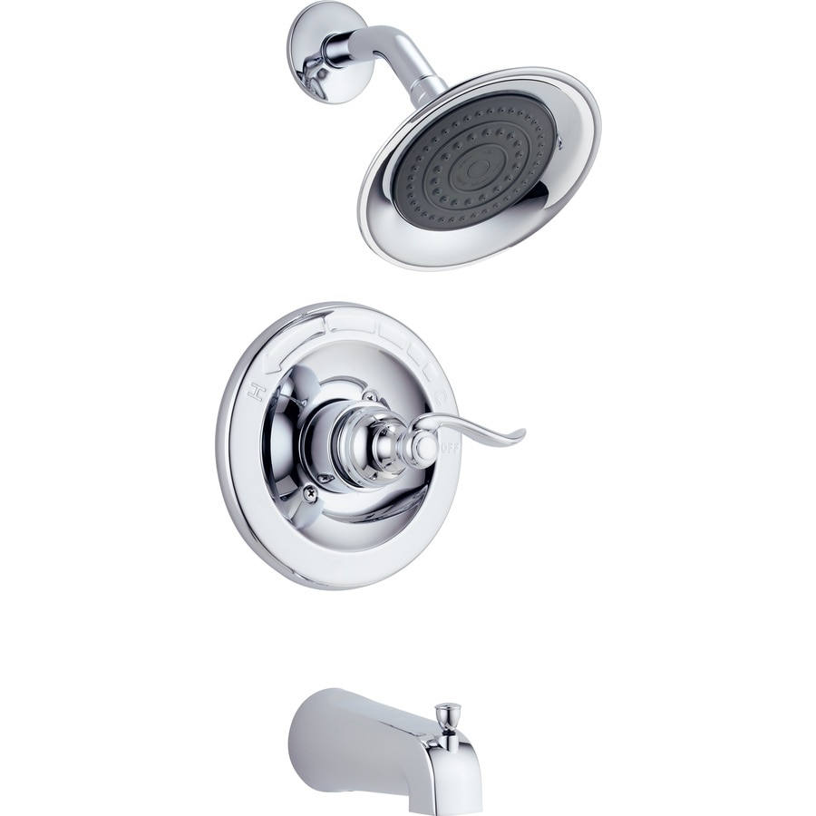 Delta Windemere with Valve Chrome 1-Handle WaterSense Bathtub and Shower Faucet Valve Included with Single Function Showerhead