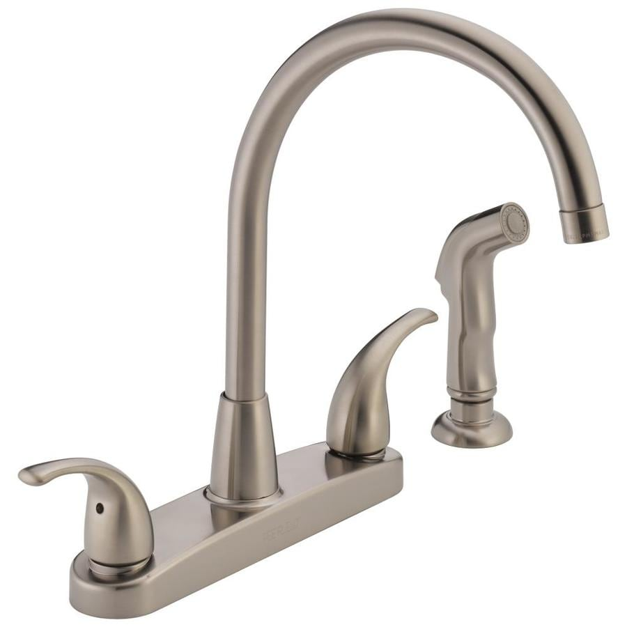 shop peerless stainless 2 handle high arc kitchen faucet