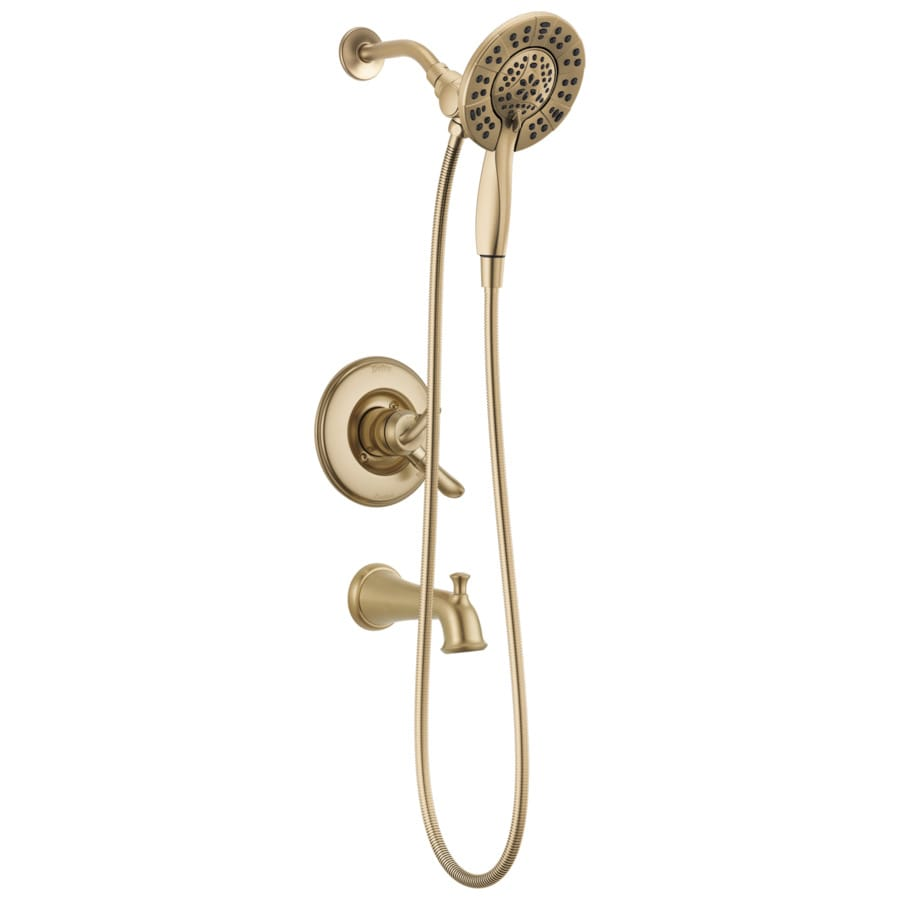 Delta Linden Champagne Bronze 1-Handle WaterSense Bathtub and Shower Faucet with Handheld Showerhead