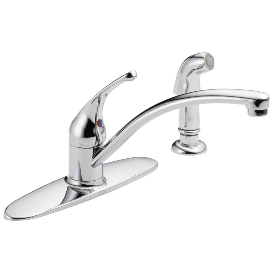 Shop Delta Foundations Chrome 1 Handle Low Arc Kitchen Faucet With Side Spray At