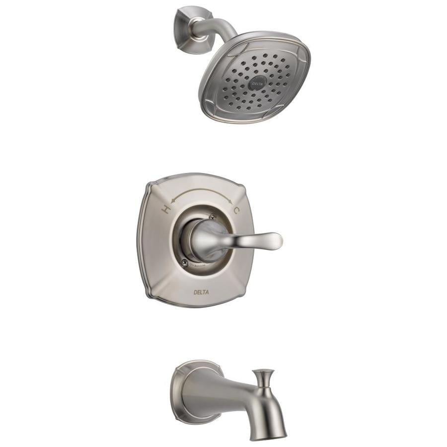 Delta Celice Stainless 1-Handle WaterSense Bathtub and Shower Faucet with Single Function Showerhead