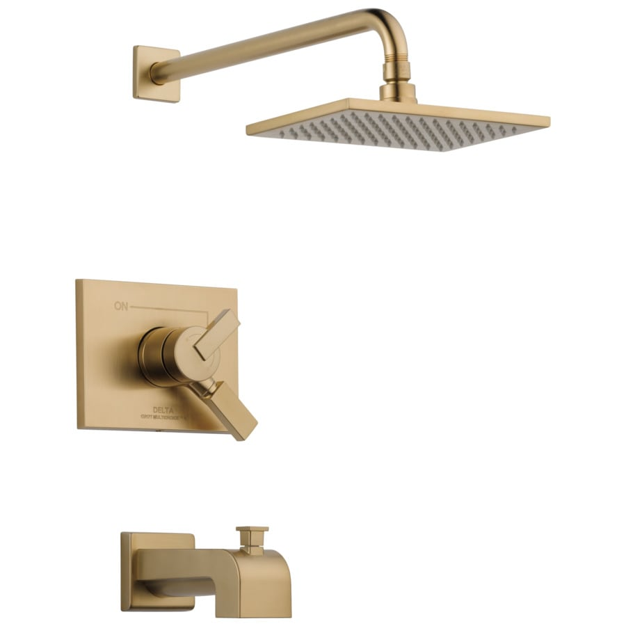 Delta Vero Champagne Bronze 1-Handle Bathtub and Shower Faucet Trim Kit with Rain Showerhead