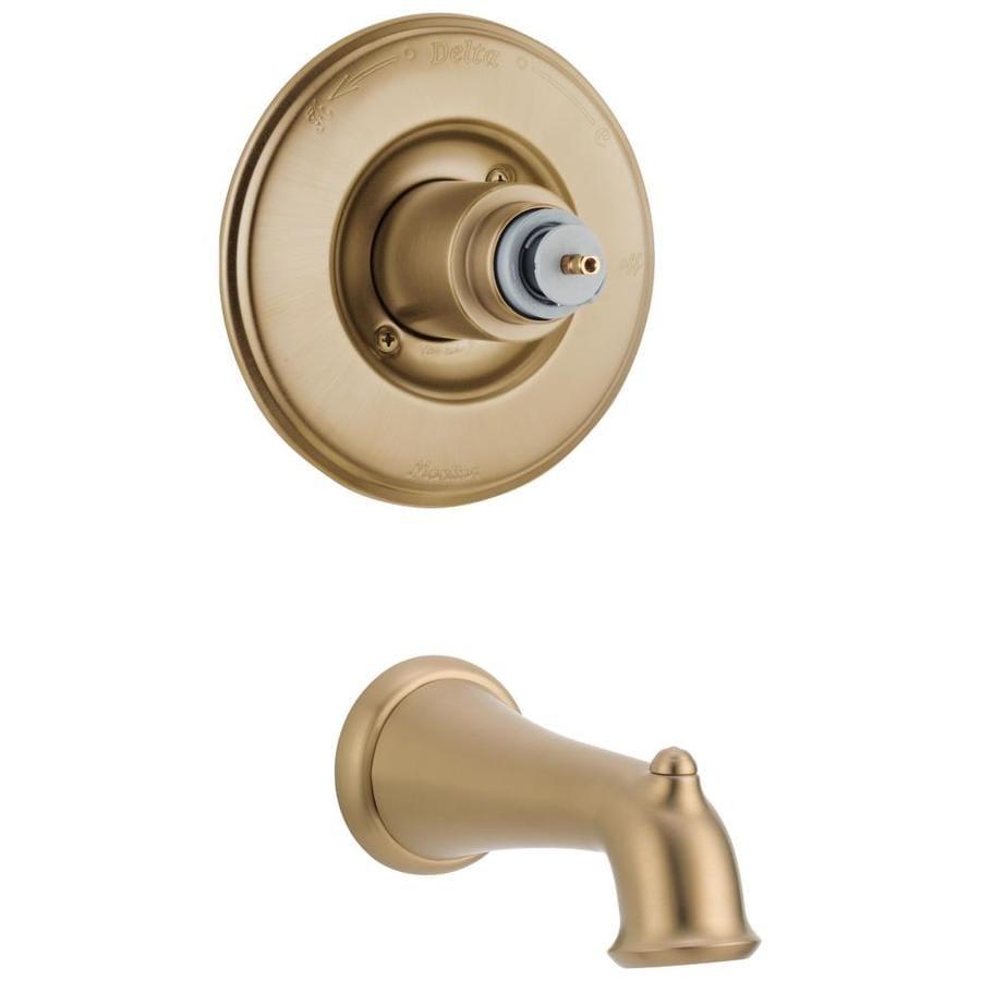 Shop Delta Victorian Champagne Bronze 1 Handle Fixed Wall Mount Bathtub Faucet At