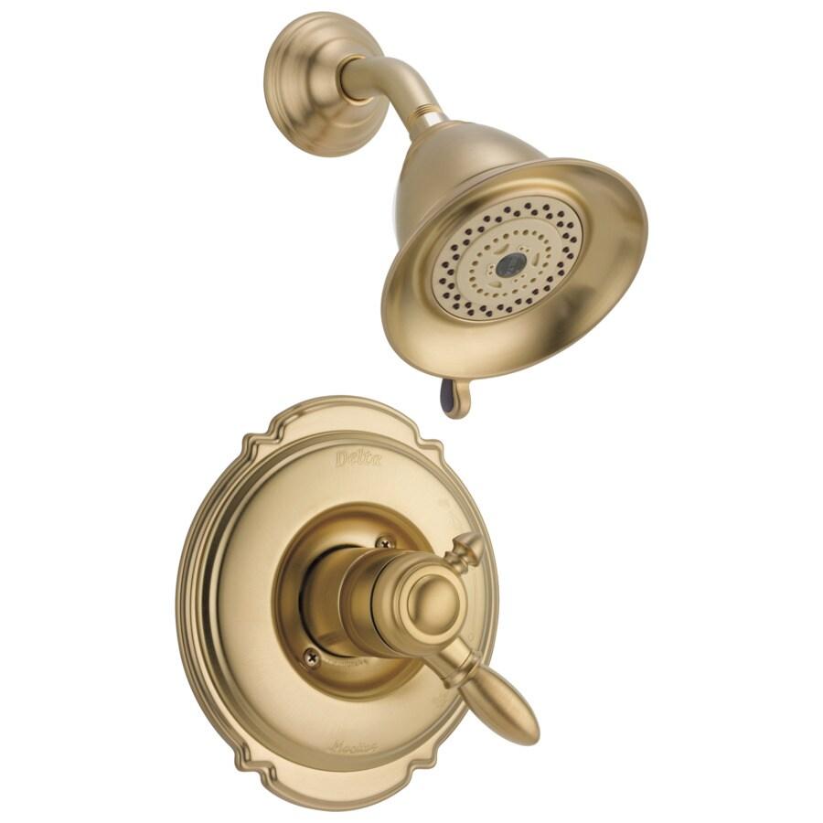 Delta Victorian Champagne Bronze 1-Handle Shower Faucet Trim Kit with Multi-Function Showerhead