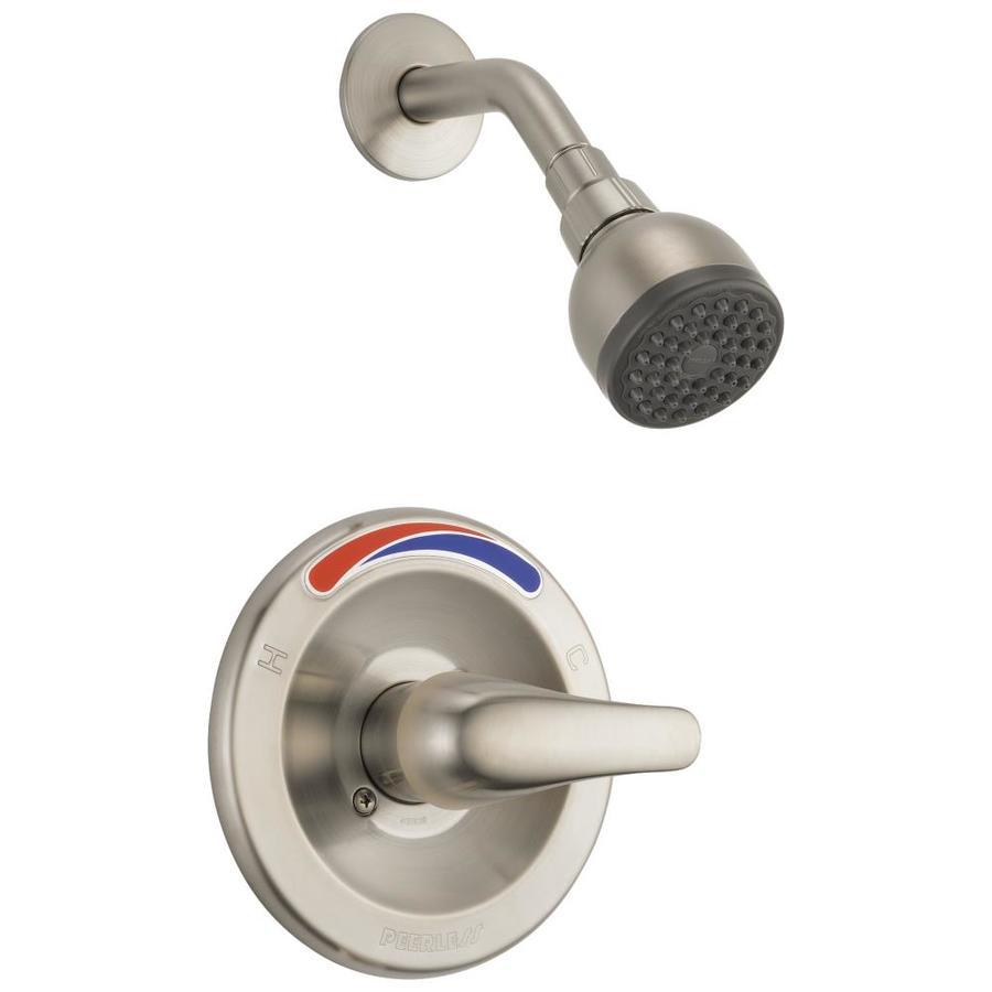 Peerless Brushed Nickel 1-Handle WaterSense Shower Faucet Trim Kit with Single Function Showerhead