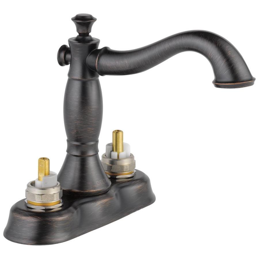 Shop Delta Cassidy Venetian Bronze 2-Handle 4-in Centerset WaterSense Bathroom Faucet (Drain