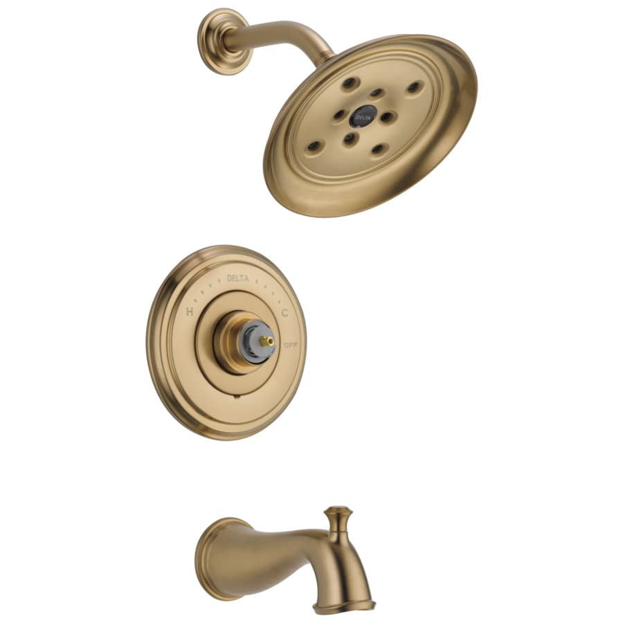 Delta Cassidy Champagne Bronze 1-Handle WaterSense Bathtub and Shower Faucet Trim Kit with Rain Showerhead
