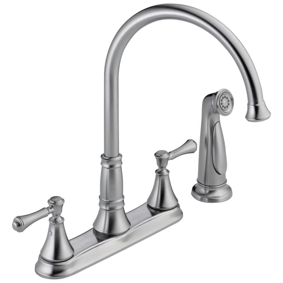 Delta Cassidy Arctic Stainless 2-Handle High-Arc Kitchen Faucet with Side Spray