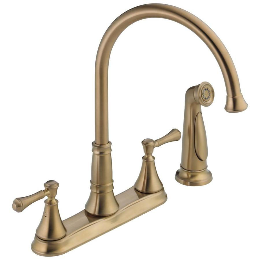 Shop Delta Cassidy Champagne Bronze 2 Handle High Arc Kitchen Faucet With Side Spray At