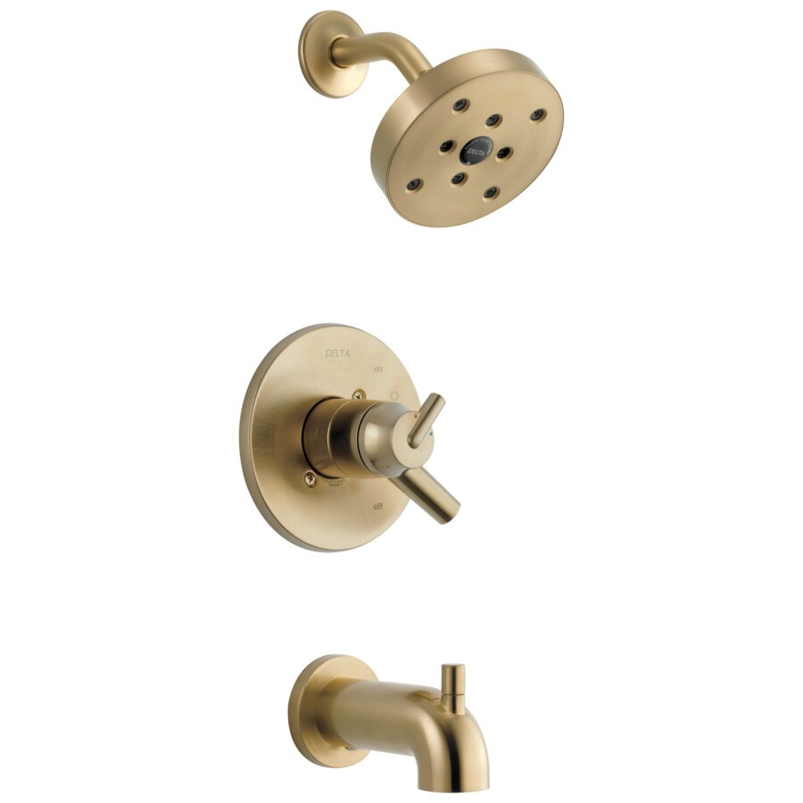 Delta Trinsic Champagne Bronze 1-Handle WaterSense Bathtub and Shower Faucet Trim Kit with Single Function Showerhead