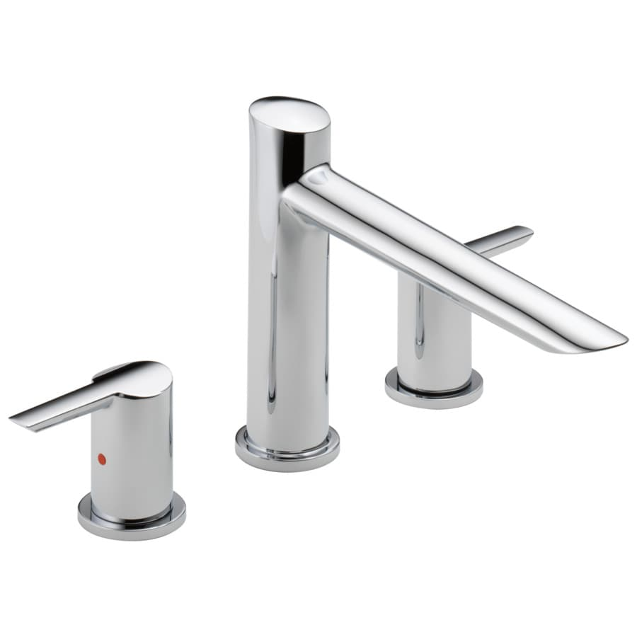 shop delta compel chrome 2 handle adjustable deck mount bathtub faucet