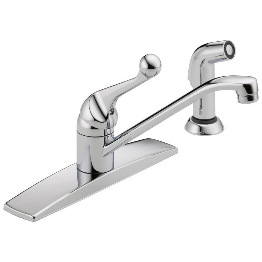 shop delta classic chrome 1 handle low arc kitchen faucet shop moen chateau chrome 1 handle low arc kitchen faucet