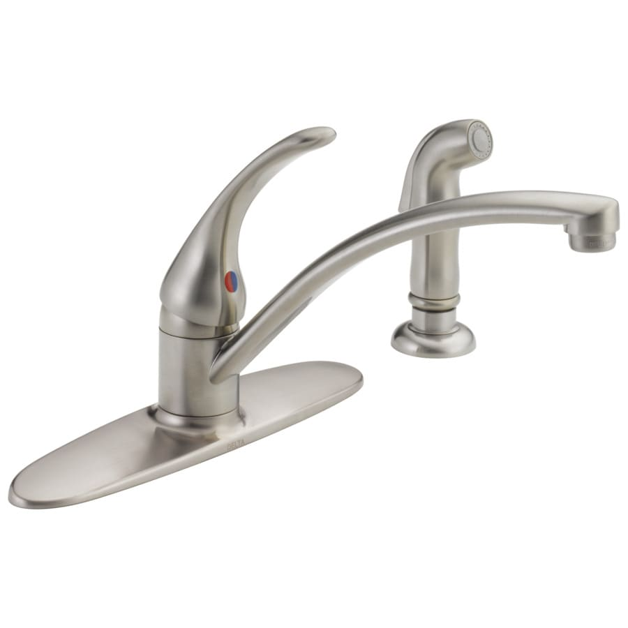 Delta Foundations Stainless 1-Handle Low-Arc Sink/Counter Mount Kitchen Faucet