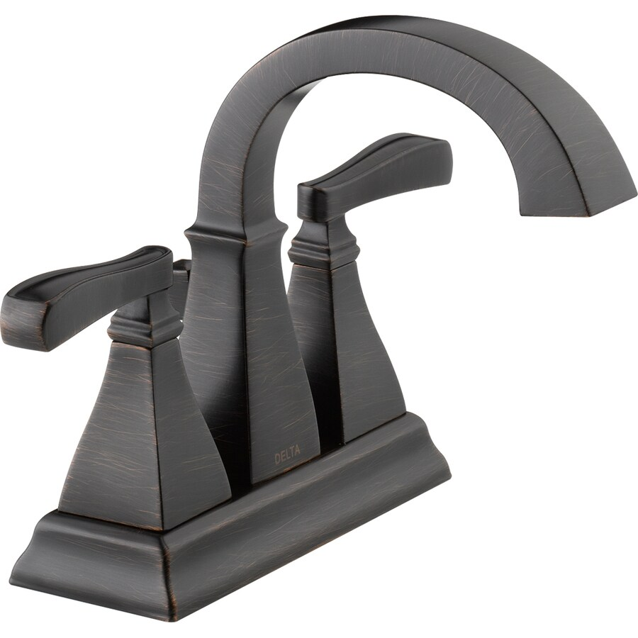 Delta Olmsted Venetian Bronze 2-Handle 4-in Centerset WaterSense Bathroom Faucet (Drain Included)