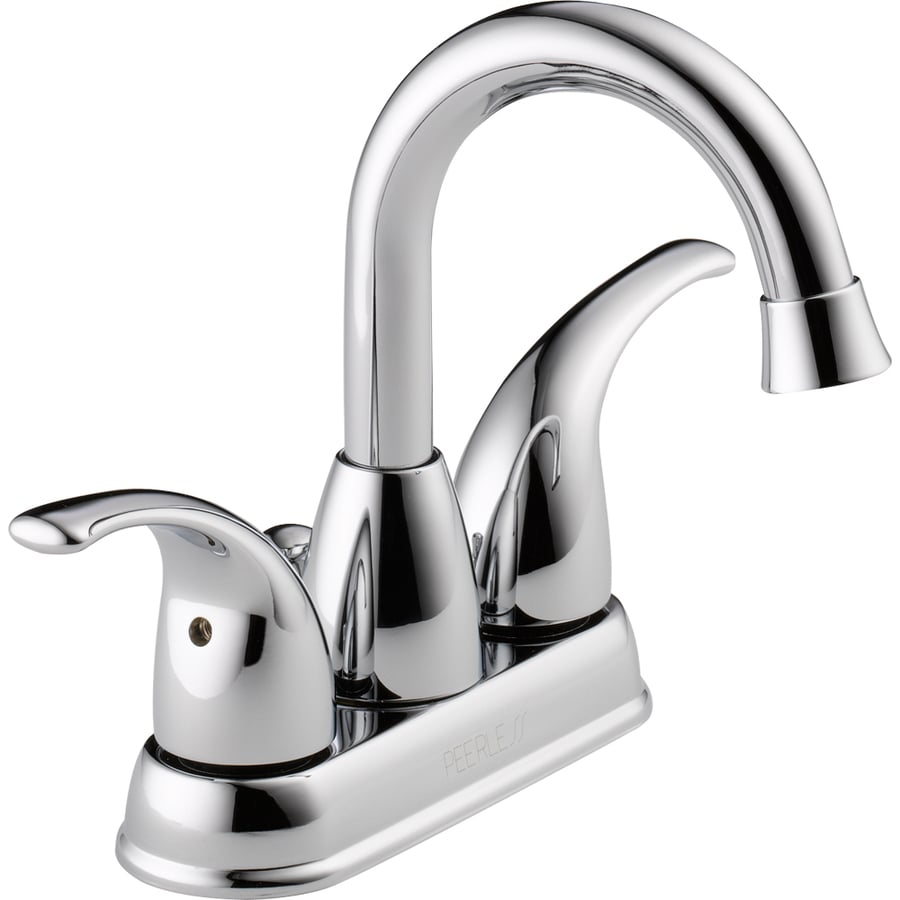 Peerless Tempo Chrome 2-Handle 4-in Centerset WaterSense Bathroom Faucet (Drain Included)