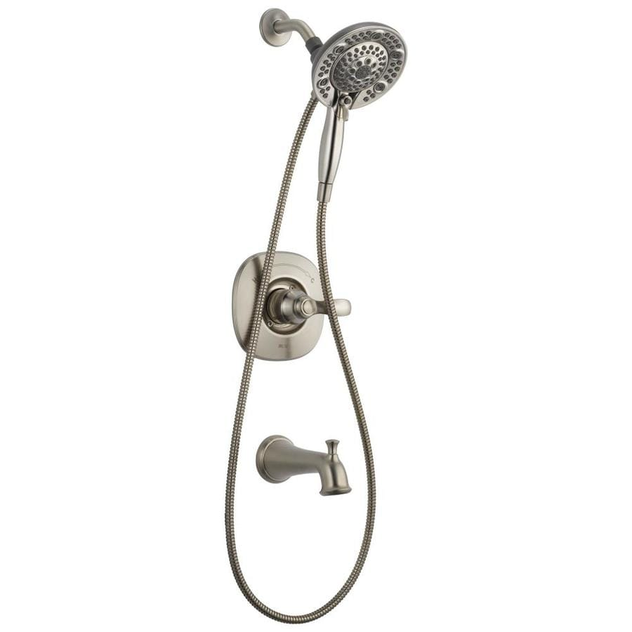Delta Nura Stainless 1-Handle Bathtub and Shower Faucet with Multi-Function Showerhead
