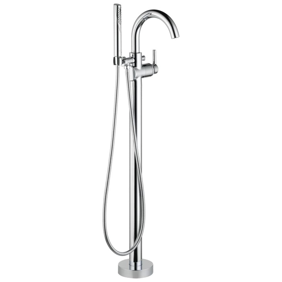 Contemporary Chrome 1-Handle Fixed Freestanding Bathtub Faucet Product Photo