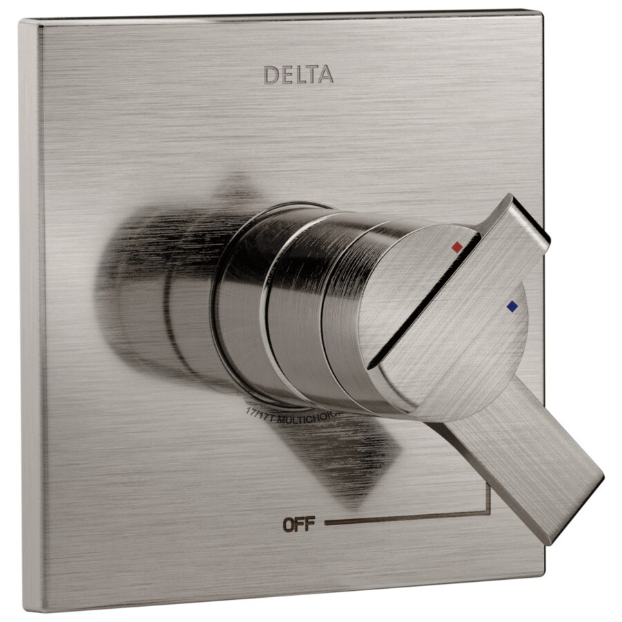 Delta Ara Stainless 1-Handle Shower Faucet Trim Kit with Sold Separately Showerhead