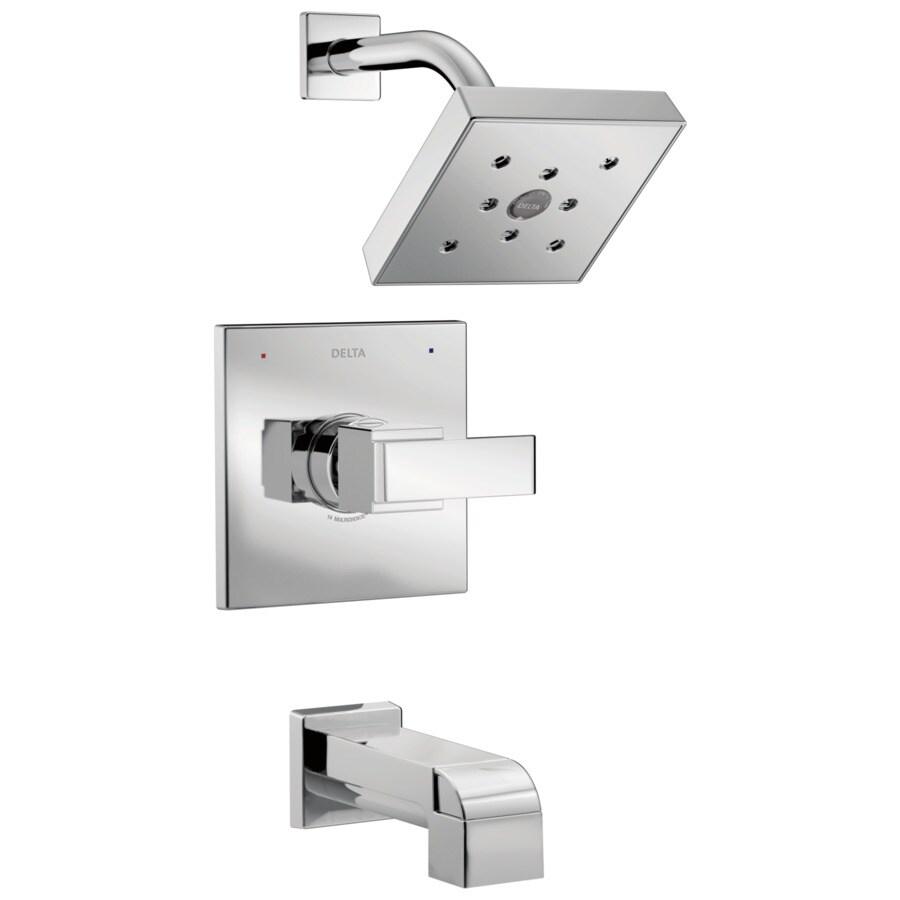 Delta Ara Chrome 1-Handle WaterSense Bathtub and Shower Faucet Trim Kit with Single Function Showerhead