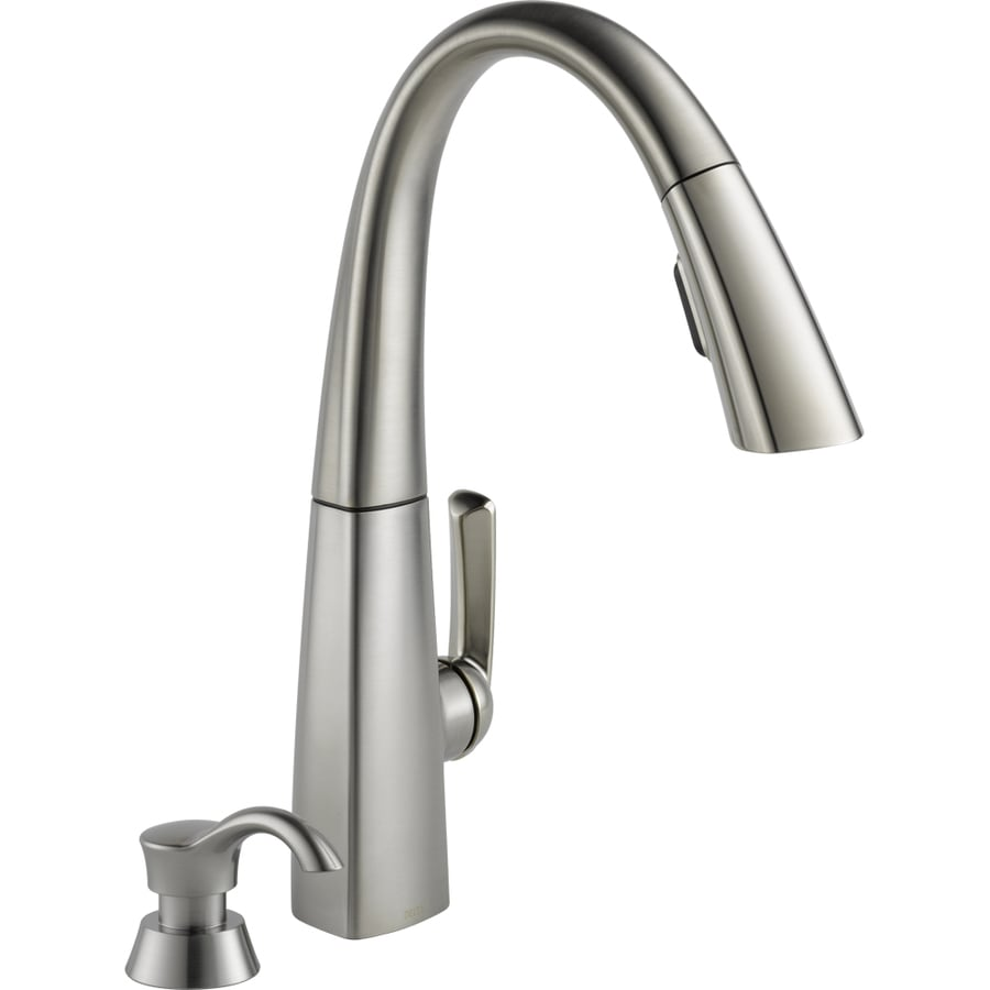Shop Delta Arc Stainless Steel 1 Handle Pull Down Kitchen Faucet At