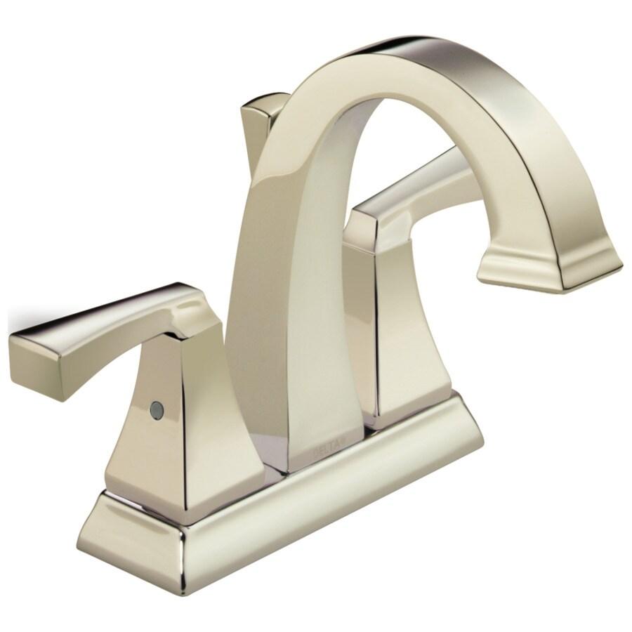 Delta Dryden Polished Nickel 2-Handle 4-in Centerset WaterSense Bathroom Faucet (Drain Included)