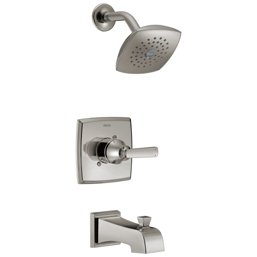Delta Ashlyn Stainless 1-Handle WaterSense Bathtub and Shower Faucet Trim Kit with Single Function Showerhead