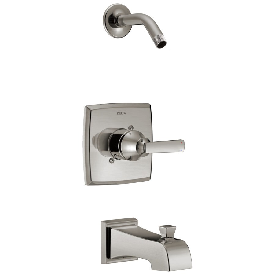 Delta Ashlyn Stainless 1-Handle Bathtub and Shower Faucet Trim Kit with Sold Separately Showerhead