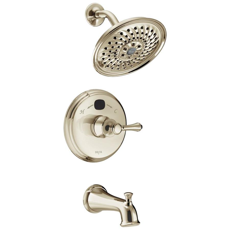 Delta Polished Nickel 1-Handle WaterSense Bathtub and Shower Faucet Trim Kit with Single Function Showerhead