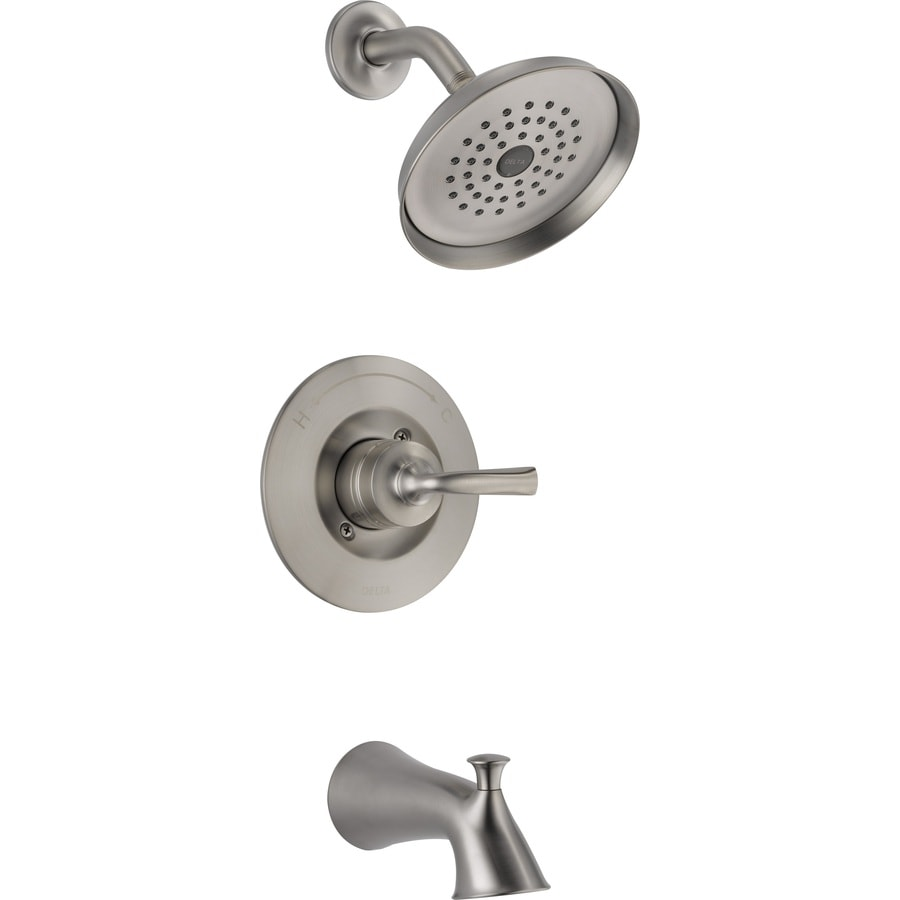 delta lorain stainless 1 handle bathtub and shower faucet with single