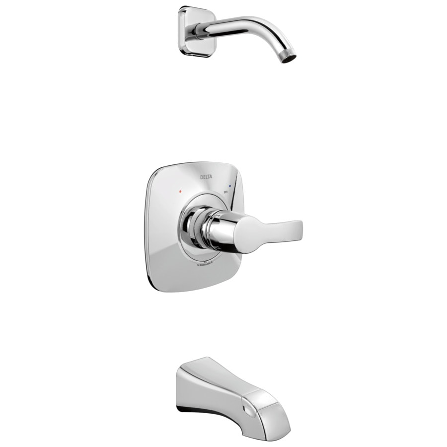 Delta Tesla Chrome 1-Handle Bathtub and Shower Faucet Trim Kit with Sold Separately Showerhead