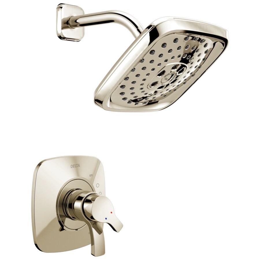 Delta Tesla Polished Nickel 2-Handle WaterSense Shower Faucet Trim Kit with Multi-Function Showerhead