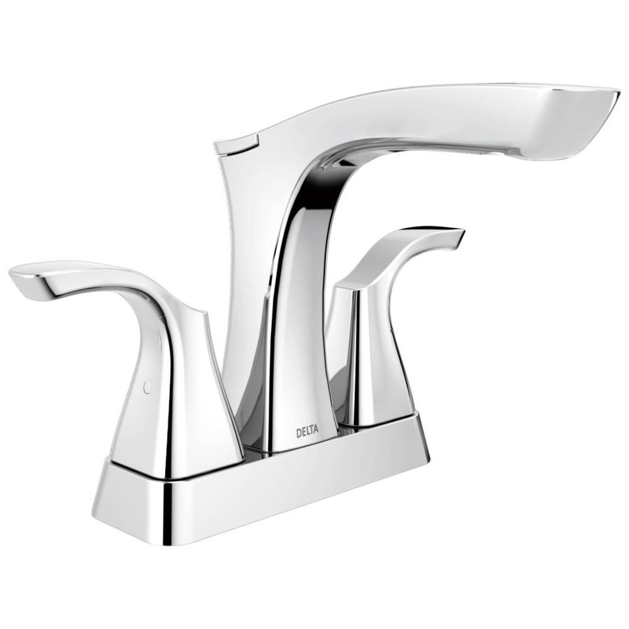 Delta Tesla Chrome 2-Handle 4-in Centerset WaterSense Bathroom Faucet (Drain Included)