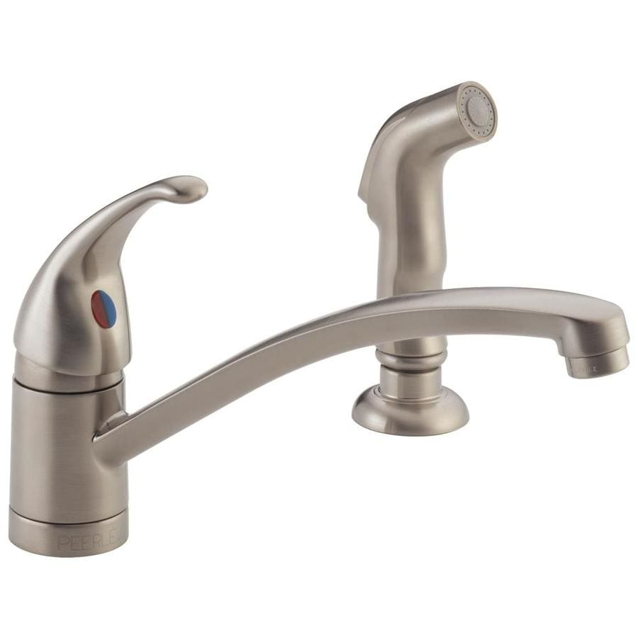 Peerless Choice Stainless 1-Handle Low-Arc Kitchen Faucet with Side Spray