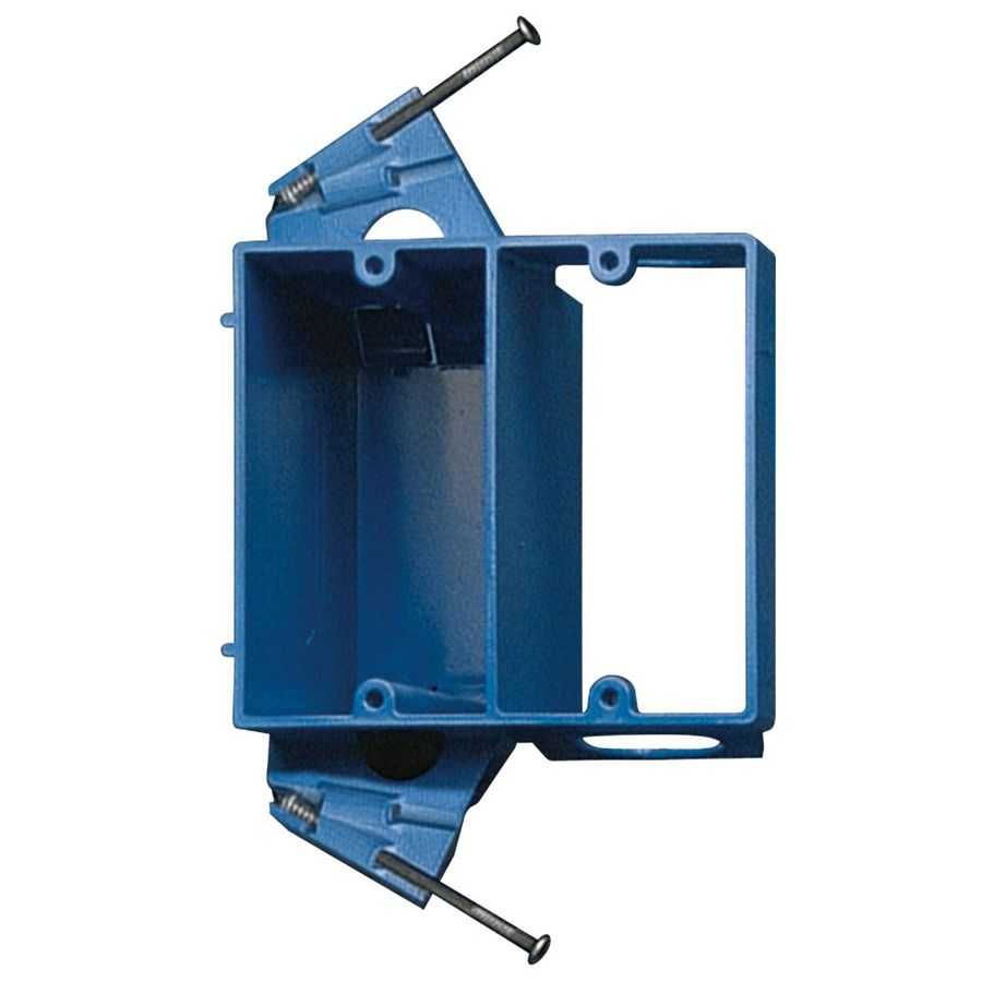 Blue 2-Gang PVC Non Metallic Switch Outlet Box W// Double Plastic Interior Box