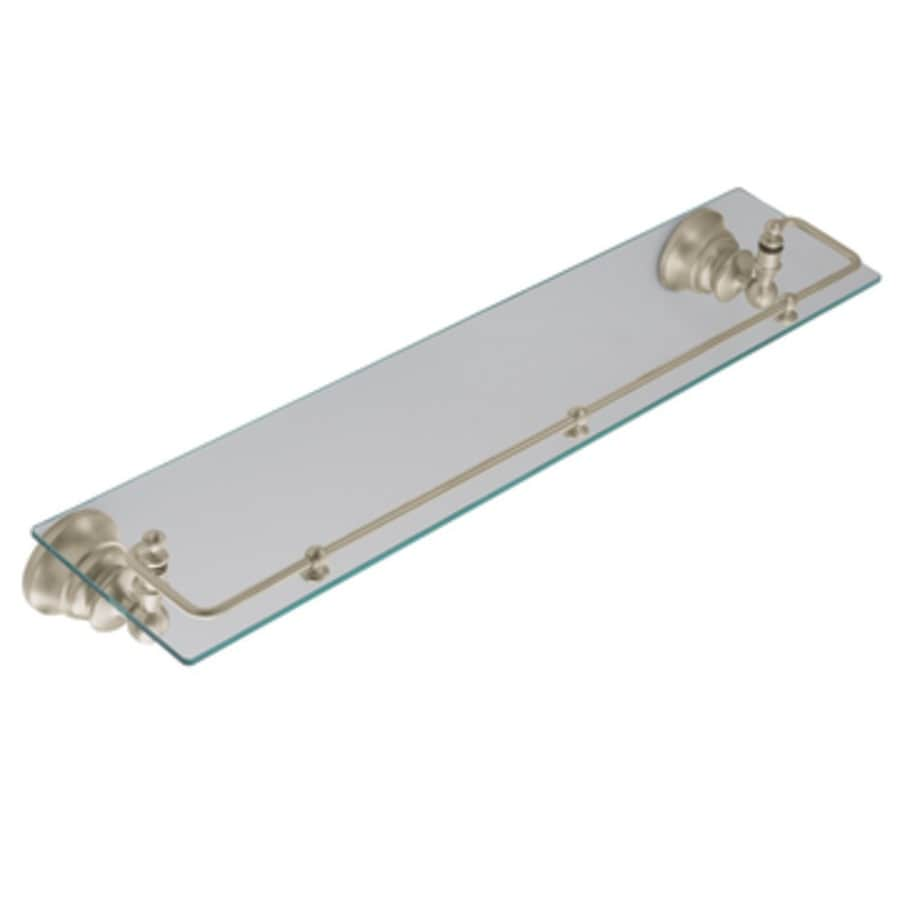 shop moen waterhill brushed nickel glass bathroom shelf at lowes
