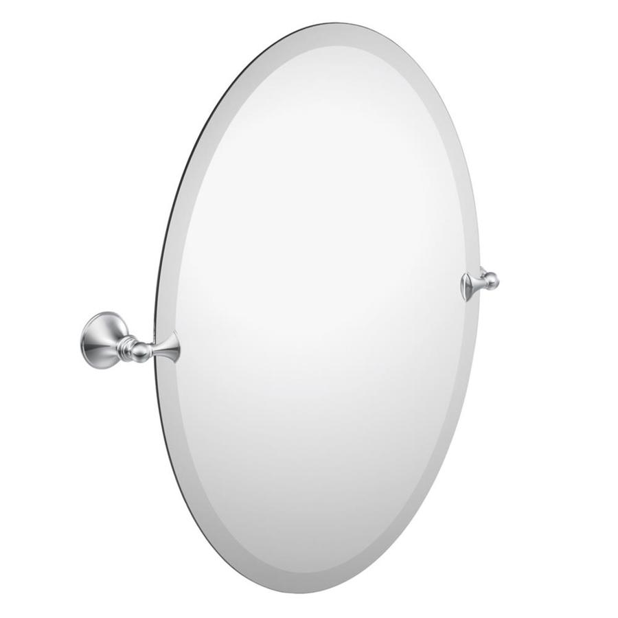 Moen Glenshire 22.81-in W x 26-in H Oval Tilting Frameless Bathroom Mirror with Chrome Hardware and Beveled Edges