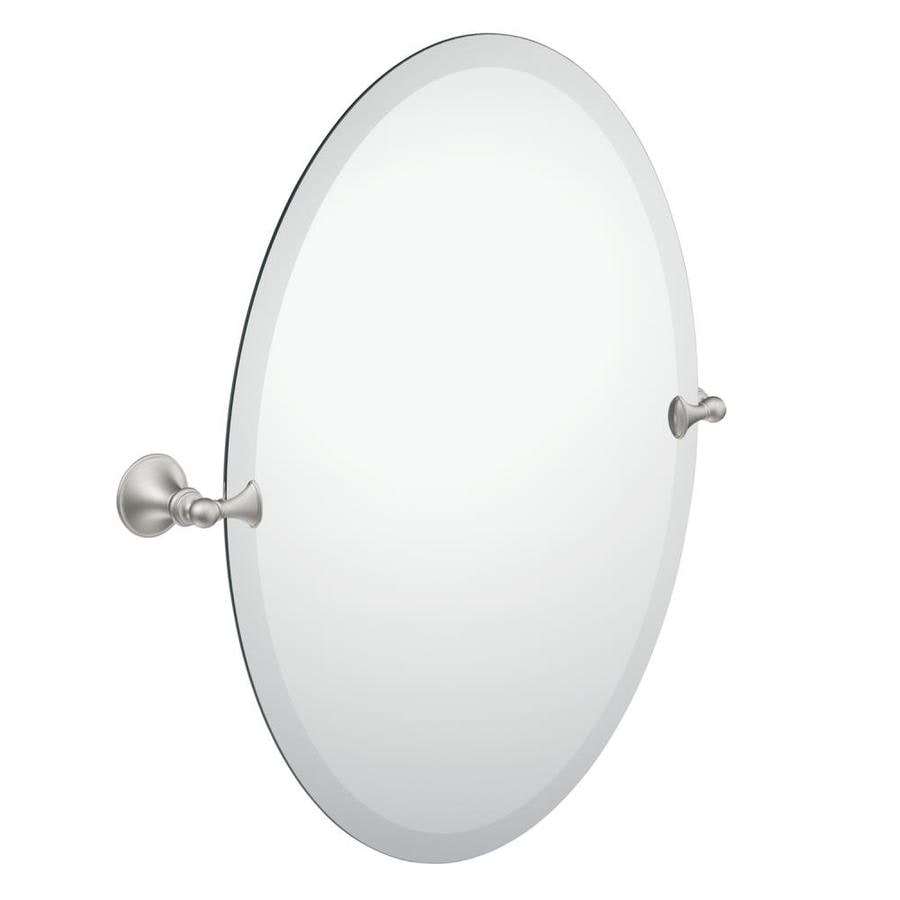 Moen Glenshire 22.81-in W x 26-in H Oval Tilting Frameless Bathroom Mirror with Spot Resist Brushed Nickel Hardware and Beveled Edges