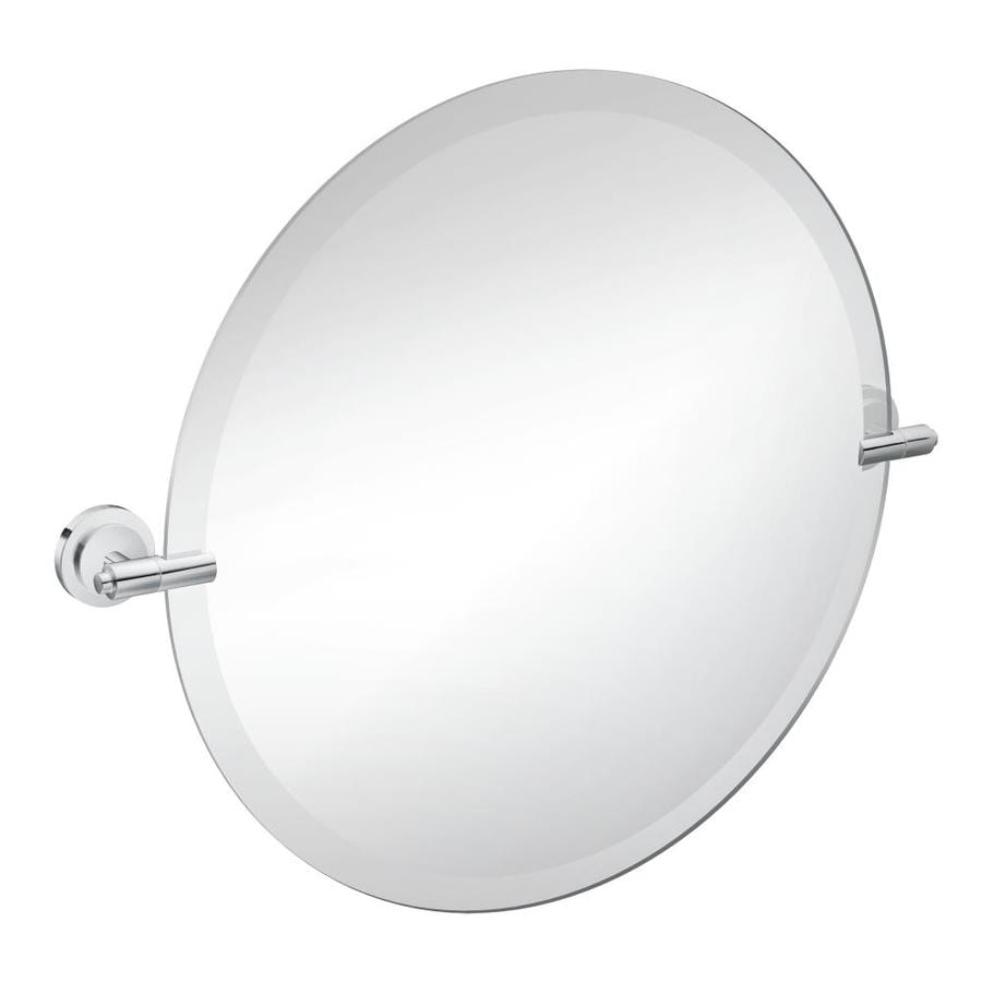 Moen Iso 22-in Round Tilting Frameless Bathroom Mirror with Chrome Hardware and Beveled Edges