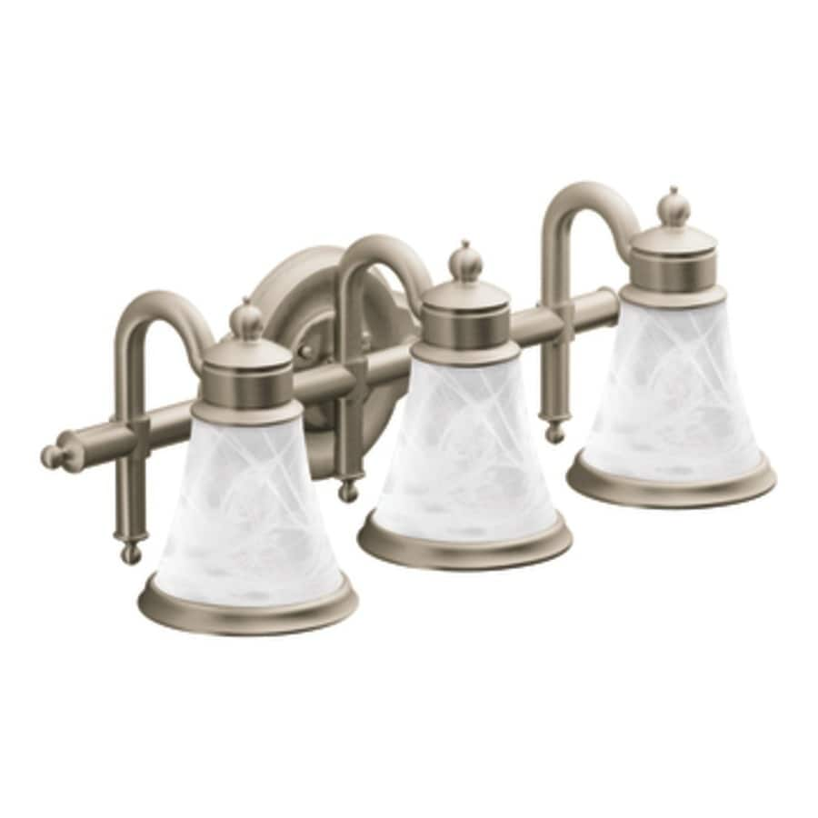 Moen Brushed Nickel Vanity Lights : Shop Moen Waterhill 3-Light Brushed Nickel Vanity Light at Lowes.com