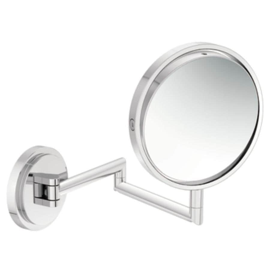 Shop moen arris chrome zinc magnifying wall mounted vanity for Wall mounted mirror