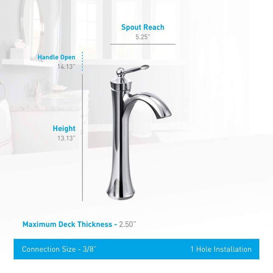 Shop Moen Wynford Chrome 1 Handle Single Hole Watersense Bathroom Faucet At